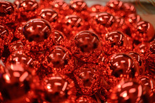 Many Red Glass Christmas Balls.Blur, Shallow Depth Of Field.