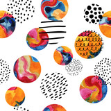 Watercolor circles simple seamless pattern - 129402319