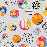 Watercolor circles simple seamless pattern - 129402332