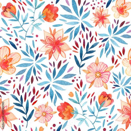 Cotton fabric Watercolor ornate flowers seamless pattern.