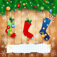 Christmas Socks And Copy Space On Wooden Background