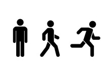 Man Stands, Walk And Run Icon ...