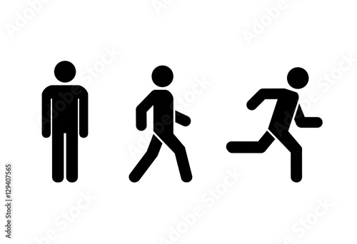 Foto  Man stands, walk and run icon set