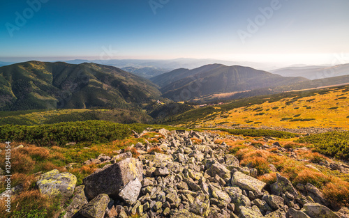 Photo sur Aluminium Colline Meadows and Hills at Sunset in Low Tatra Mountains National Park, Slovakia in Summer.