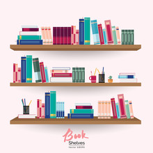 Bookshelves With Colorful Books And Stationery On The Wall