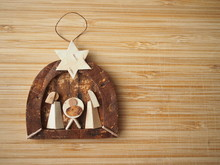 Tiny Wooden Nativity Scene - Traditional Wooden Christmas Decoration
