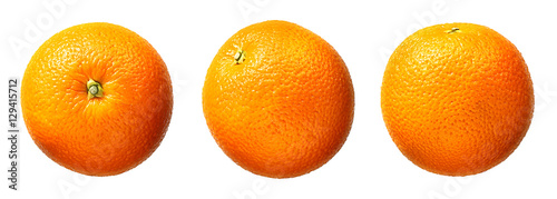 Stampa su Tela Fresh orange fruit isolated on white background