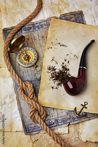 Foto auf Acrylglas Zen Smoking pipe and tobacco