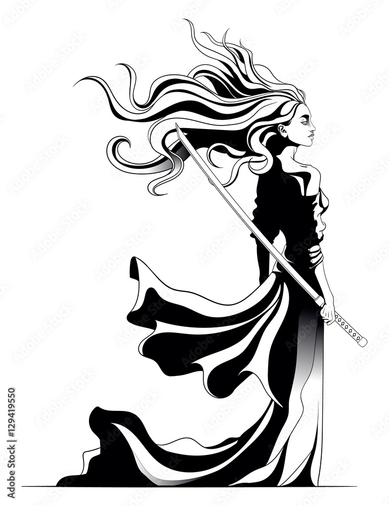 Fotografía girl samurai standing with sword in hand, a strong wind ...