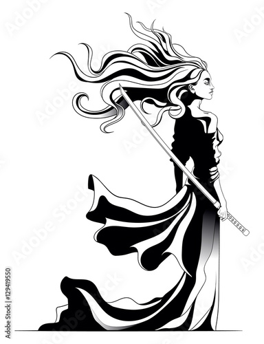 girl samurai standing with sword in hand, a strong wind ruffling Poster