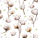 Watercolor vintage background with twigs and cotton flowers boho - 129426733