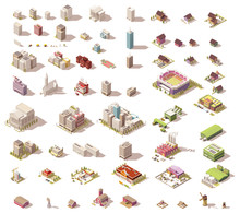 Vector Isometric Low Poly Buil...