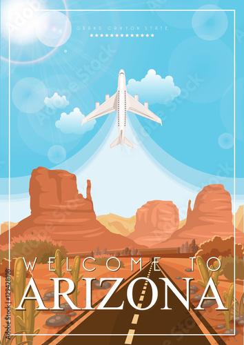 arizona-wektor-amerykanski-plakat-ilustracja-podrozy-usa-kartke-z-zyczeniami-w-stany-zjednoczone-ameryki