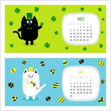Cat Horizontal Calendar 2017. ...