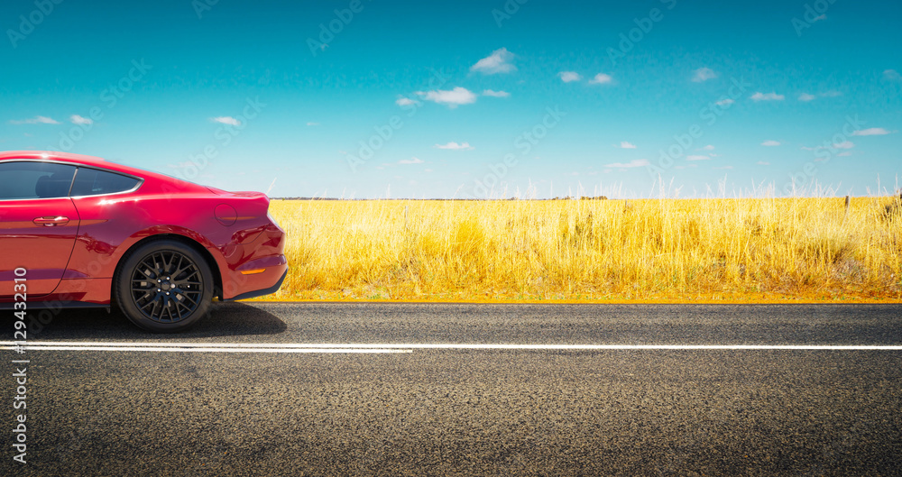 Fototapety, obrazy: Sport car .parked on road side with field of golden wheat background .