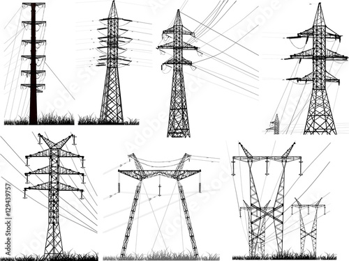 Photo set of seven isolated electric pylons with wares