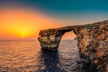 Azure Window At Sunset, Gozo, ...