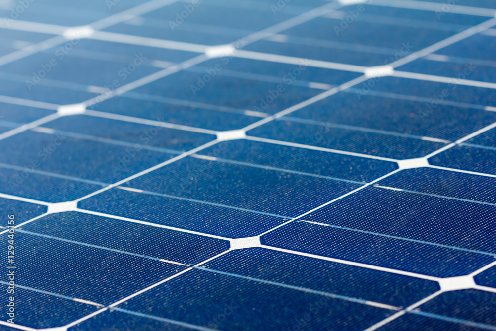Fototapety, obrazy: Close-up of Solar energy panel photovoltaics module in the sea offshore