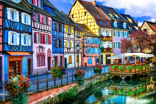 amazing beautiful places of France - colorful Colmar town in Alsace Wallpaper Mural