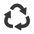silhouette oval recycling symbol shape with arrows . Vector illustration