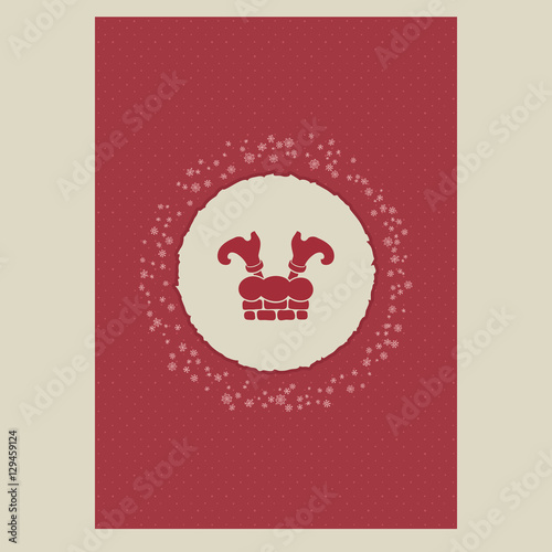 christmas and new year postcard template with santa claus legs symbol