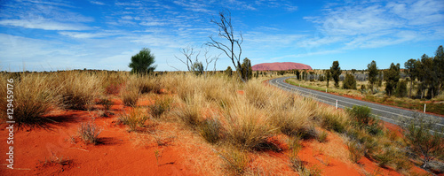 Spoed Foto op Canvas Australië Australia Landscape : Uluru Road to Red rock of Alice Spring, Yulara, Mutitjulu