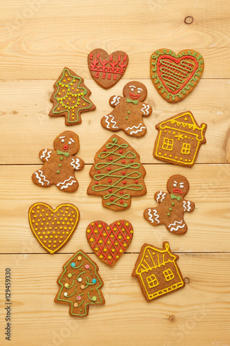 Christmas Gingerbread Cookies On Wooden Background View From Above