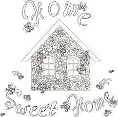 Flowers house with lettering Home sweet home for coloring page, anti stress stock vector illustration