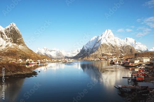 Poster Scandinavie spring in Reine Village, Lofoten Islands, Norway