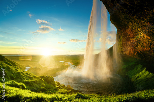 Deurstickers Watervallen Seljalandfoss waterfall in summer time, Iceland