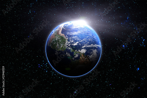 In de dag Ochtendgloren Earth and galaxy. Elements of this image furnished by NASA.