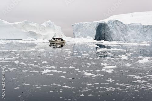 Poster Glaciers glaciers on frozen arctic ocean in Greenland
