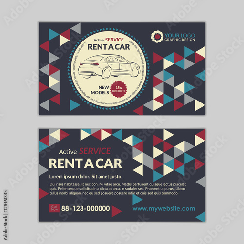 Rent a car business card template with abstract geometry pattern rent a car business card template with abstract geometry pattern triangle backgrounds auto service mockup reheart Image collections
