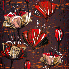 FototapetaChocolate seamless pattern with tulips
