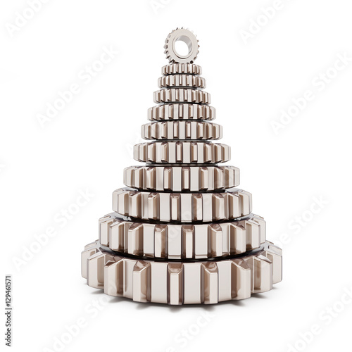 metall fir tree from machine gear on white background Wallpaper Mural