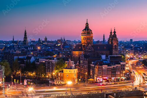 Amsterdam skyline shortly after sunset, the Netherlands