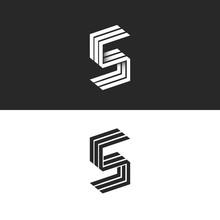 Letter S Logo Isometric Black And White Typography Design Element, Hipster Minimalistic Symbols Initials SSS Parallel Lines Monogram Emblem