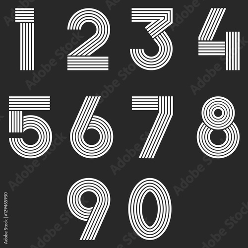 Numbers Set Hipster Parallel Offset Thin Lines Intersection Style