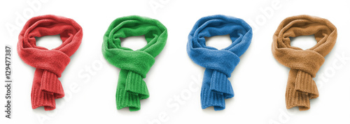 Valokuva Colored warm scarf on a white background