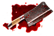 Bloody Knife On White Background
