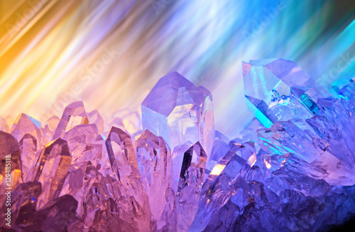 Fotografie, Obraz  Sparkling multi-colored background with rays of light and cryst