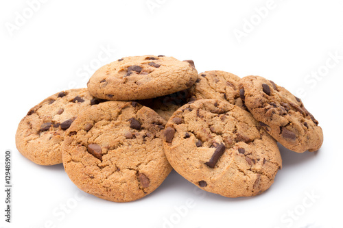 Tuinposter Koekjes Chocolate chip cookies isolated on white background.