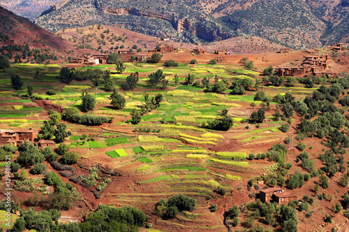 Poster Maroc Moroccan village in the Atlas mountains, Morocco, Africa