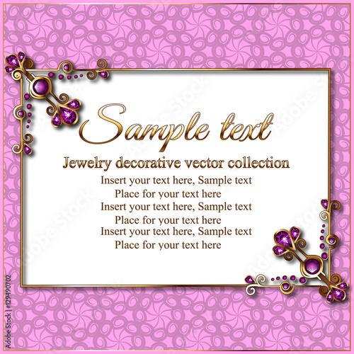 Invitation Card Or Frame With Gold In Jewelry Luxury