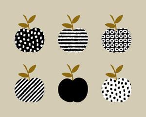 FototapetaHand drawn design with apples in black, white and ochre.