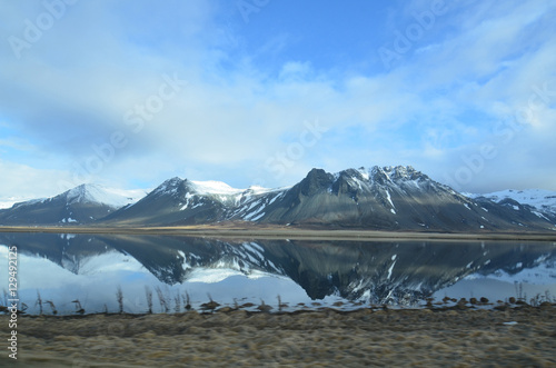 Poster Reflexion Mirror Image of Rhyolite Mountains in Iceland