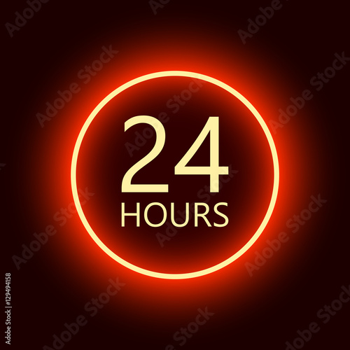 Fotografia, Obraz  24 hours open sign, red neon billboard vector illustration