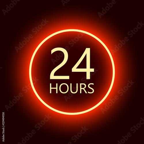 Vászonkép  24 hours open sign, red neon billboard vector illustration