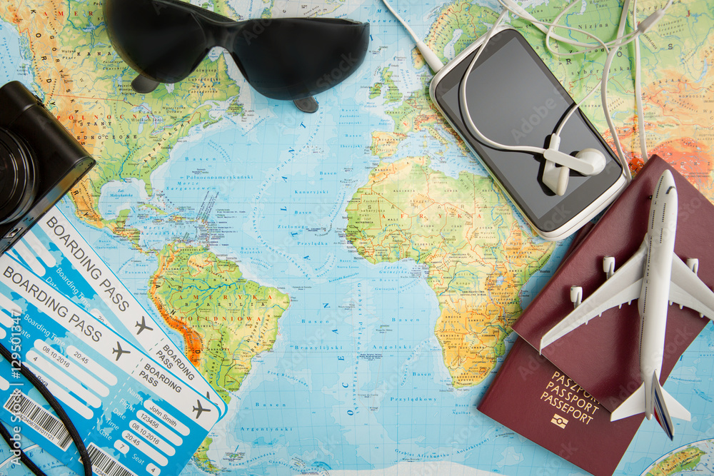 Fototapeta Business travel traveling map world concept.