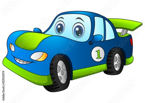 Keuken foto achterwand Cartoon cars Cartoon sport blue car